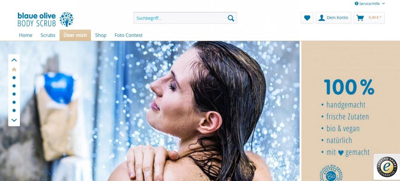 Body Scrub Kampagne Blaue Olive